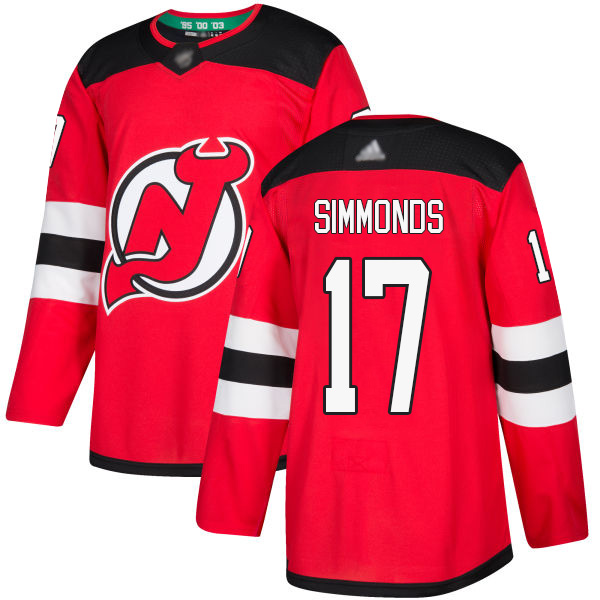 Men's Adidas New Jersey Devils #17 Wayne Simmonds Red Home Authentic Stitched NHL Jersey
