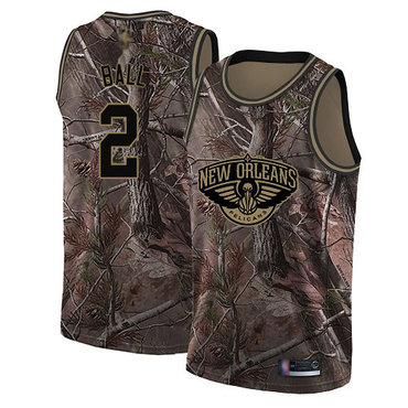 Men's Nike New Orleans Pelicans #2 Lonzo Ball Camo Basketball Swingman Realtree Collection Jersey