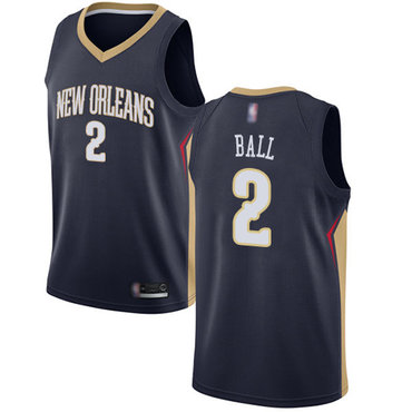 Men's Nike New Orleans Pelicans #2 Lonzo Ball Navy Basketball Swingman Icon Edition Jersey