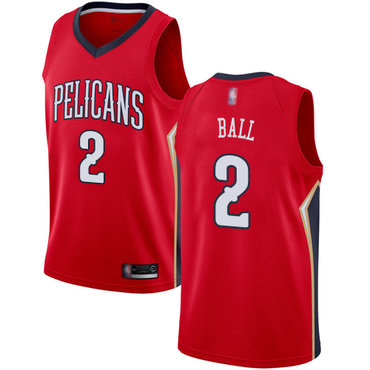 Men's Nike New Orleans Pelicans #2 Lonzo Ball Red Basketball Swingman Statement Edition Jersey