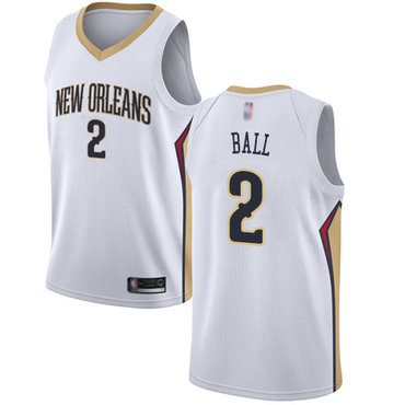 Men's Nike New Orleans Pelicans #2 Lonzo Ball White Basketball Swingman Association Edition Jersey