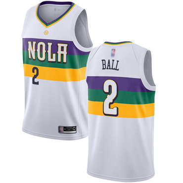 Men's Nike New Orleans Pelicans #2 Lonzo Ball White Basketball Swingman City Edition 2018-19 Jersey