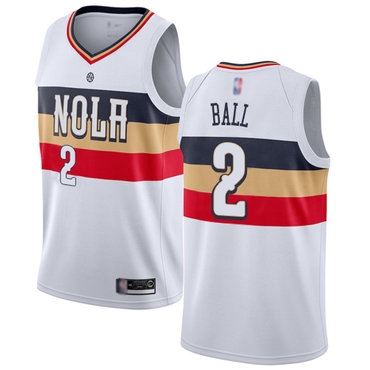 Men's Nike New Orleans Pelicans #2 Lonzo Ball White Basketball Swingman Earned Edition Jersey