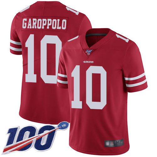 San Francisco 49ers #10 Jimmy Garoppolo Red Team Color Men's Stitched Football 100th Season Vapor Limited Jersey
