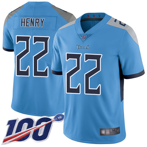 Tennessee Titans #22 Derrick Henry Light Blue Alternate Men's Stitched Football 100th Season Vapor Limited Jersey