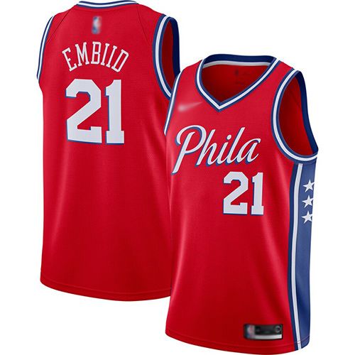 Men's Nike Philadelphia 76ers #21 Joel Embiid Red Basketball Swingman Statement Edition 2019-2020 Jersey