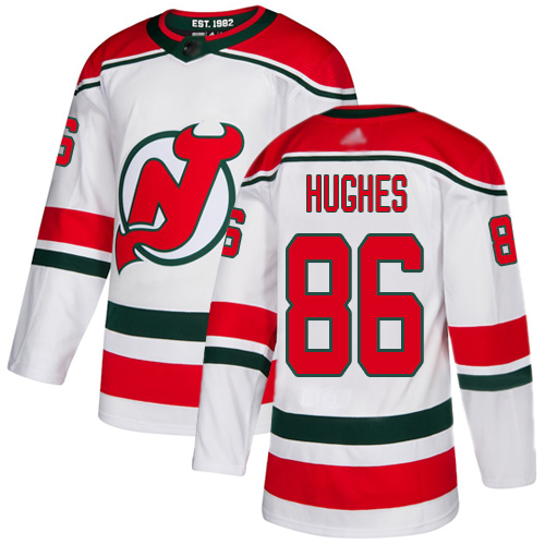 Men's Adidas New Jersey Devils #86 Jack Hughes White Alternate Authentic Stitched Hockey Jersey