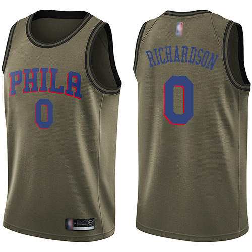 Men's Nike Philadelphia 76ers #0 Josh Richardson Green NBA Swingman Salute to Service Jersey