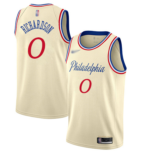 Men's Nike Philadelphia 76ers #0 Josh Richardson Cream Basketball Swingman City Edition 201920 Jersey