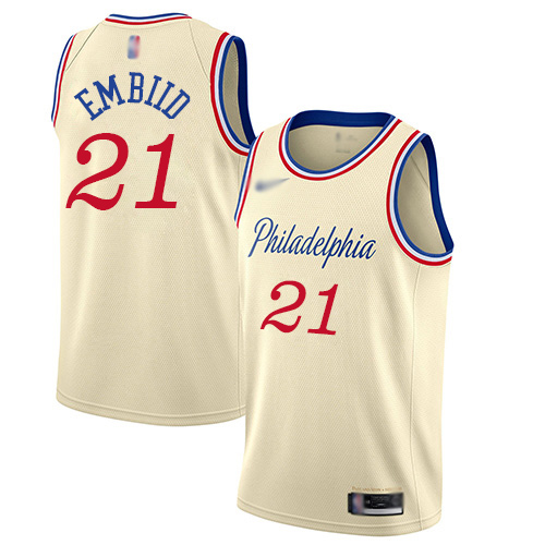 Men's Nike Philadelphia 76ers #21 Joel Embiid Cream Basketball Swingman City Edition 201920 Jersey