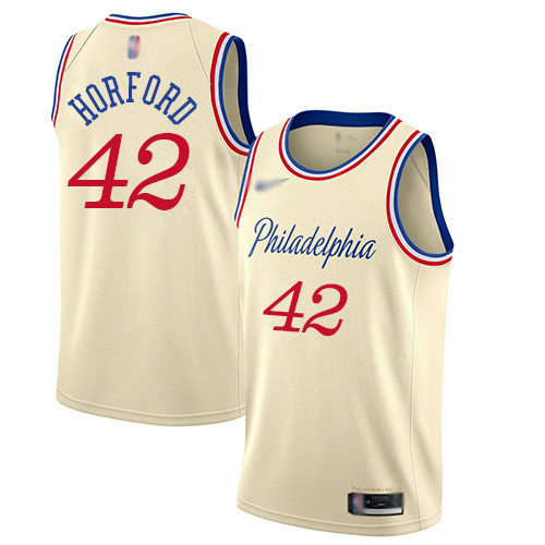 Men's Nike Philadelphia 76ers #42 Al Horford Cream Basketball Swingman City Edition 201920 Jersey