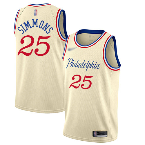 Youth Nike Philadelphia 76ers #25 Ben Simmons CreamBasketball Swingman City Edition 2019 20 Jersey