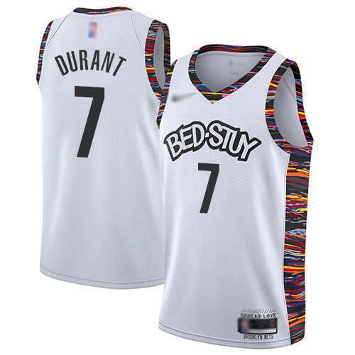 Men's Nike Brooklyn Nets #7 Kevin Durant White Basketball Swingman City Edition 2019 20 Jersey