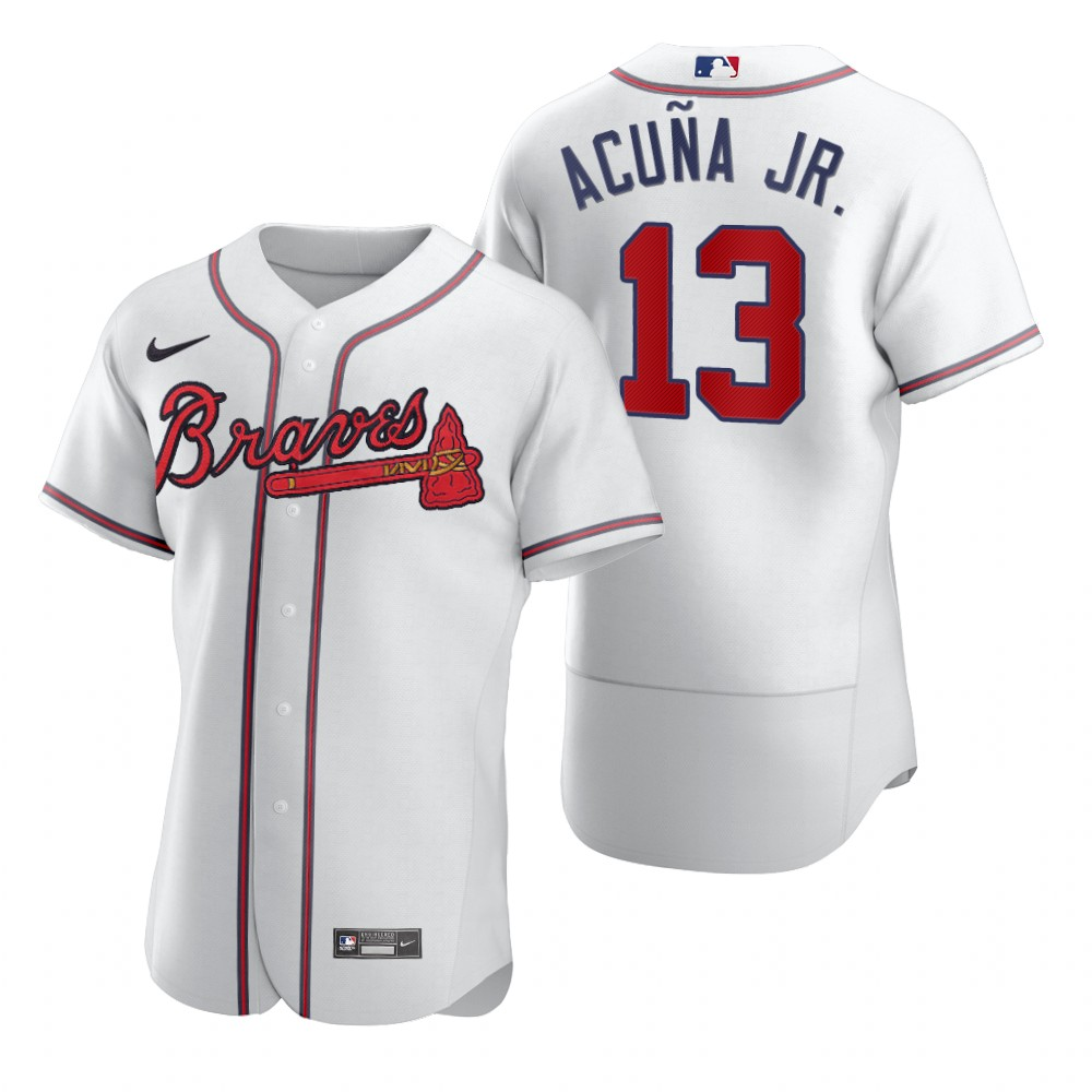 Men's Atlanta Braves #13 Ronald Acuna Jr. White 2020 Authentic Stitched Baseball Jersey