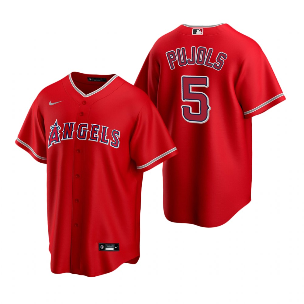 Men's Nike Los Angeles Angels #5 Albert Pujols Red Alternate Stitched Baseball Jersey