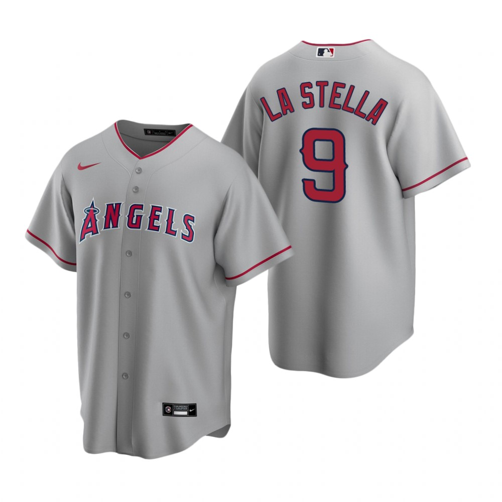 Men's Nike Los Angeles Angels #9 Tommy La Stella Gray Road Stitched Baseball Jersey