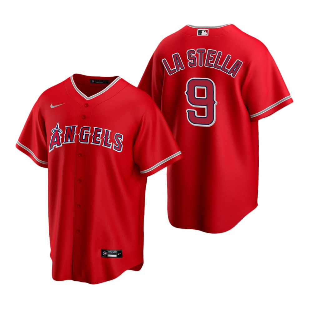 Men's Nike Los Angeles Angels #9 Tommy La Stella Red Alternate Stitched Baseball Jersey