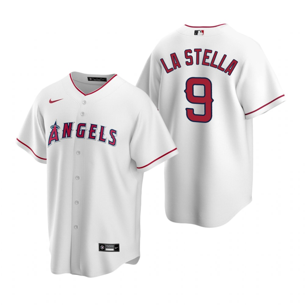 Men's Nike Los Angeles Angels #9 Tommy La Stella White Home Stitched Baseball Jersey