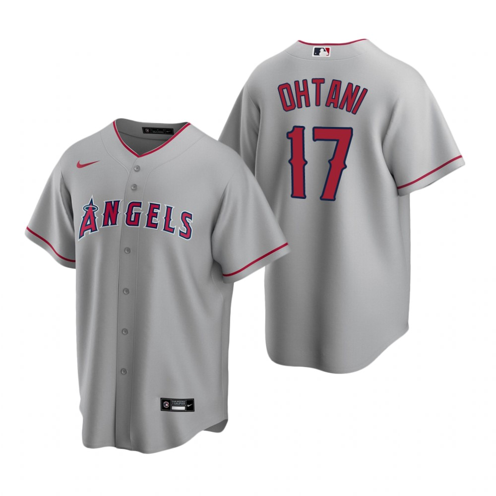 Men's Nike Los Angeles Angels #17 Shohei Ohtani Gray Road Stitched Baseball Jersey