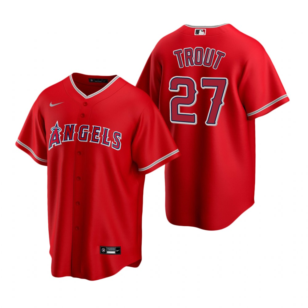 Men's Nike Los Angeles Angels #27 Mike Trout Red Alternate Stitched Baseball Jersey