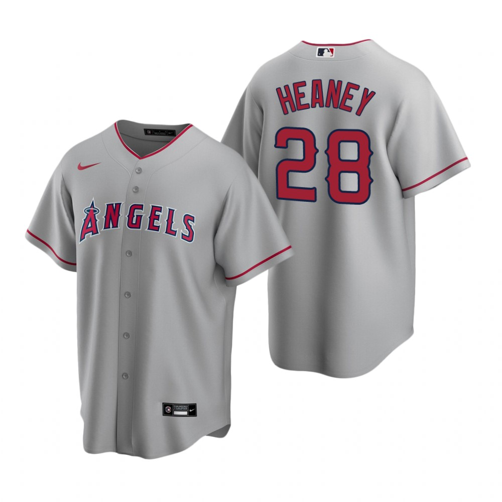 Men's Nike Los Angeles Angels #28 Andrew Heaney Gray Road Stitched Baseball Jersey