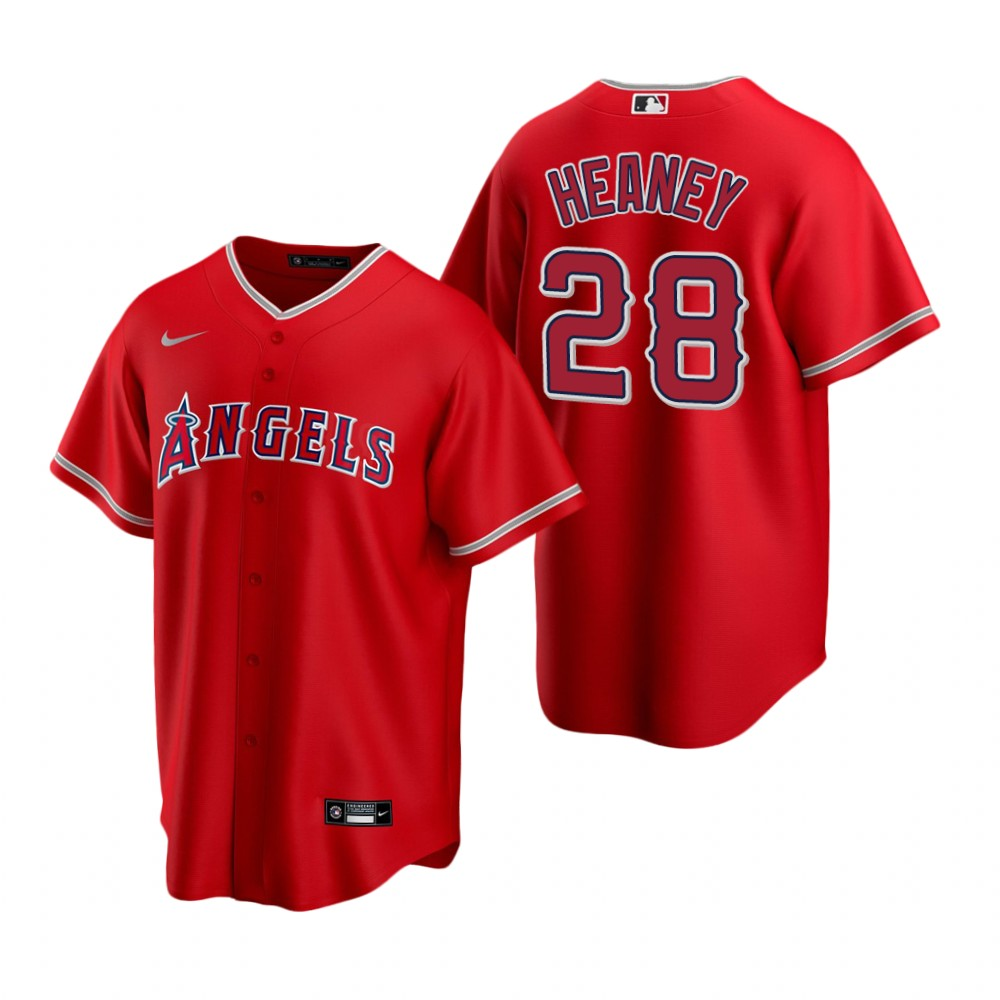 Men's Nike Los Angeles Angels #28 Andrew Heaney Red Alternate Stitched Baseball Jersey