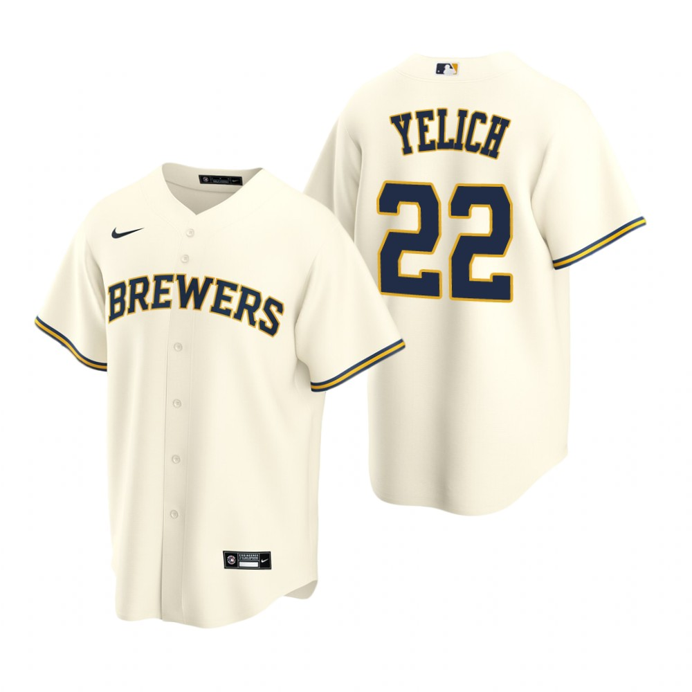 Men's Nike Milwaukee Brewers #22 Christian Yelich Cream Home Stitched Baseball Jersey