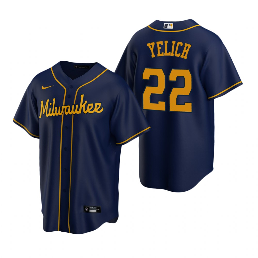 Men's Nike Milwaukee Brewers #22 Christian Yelich Navy Alternate Stitched Baseball Jersey