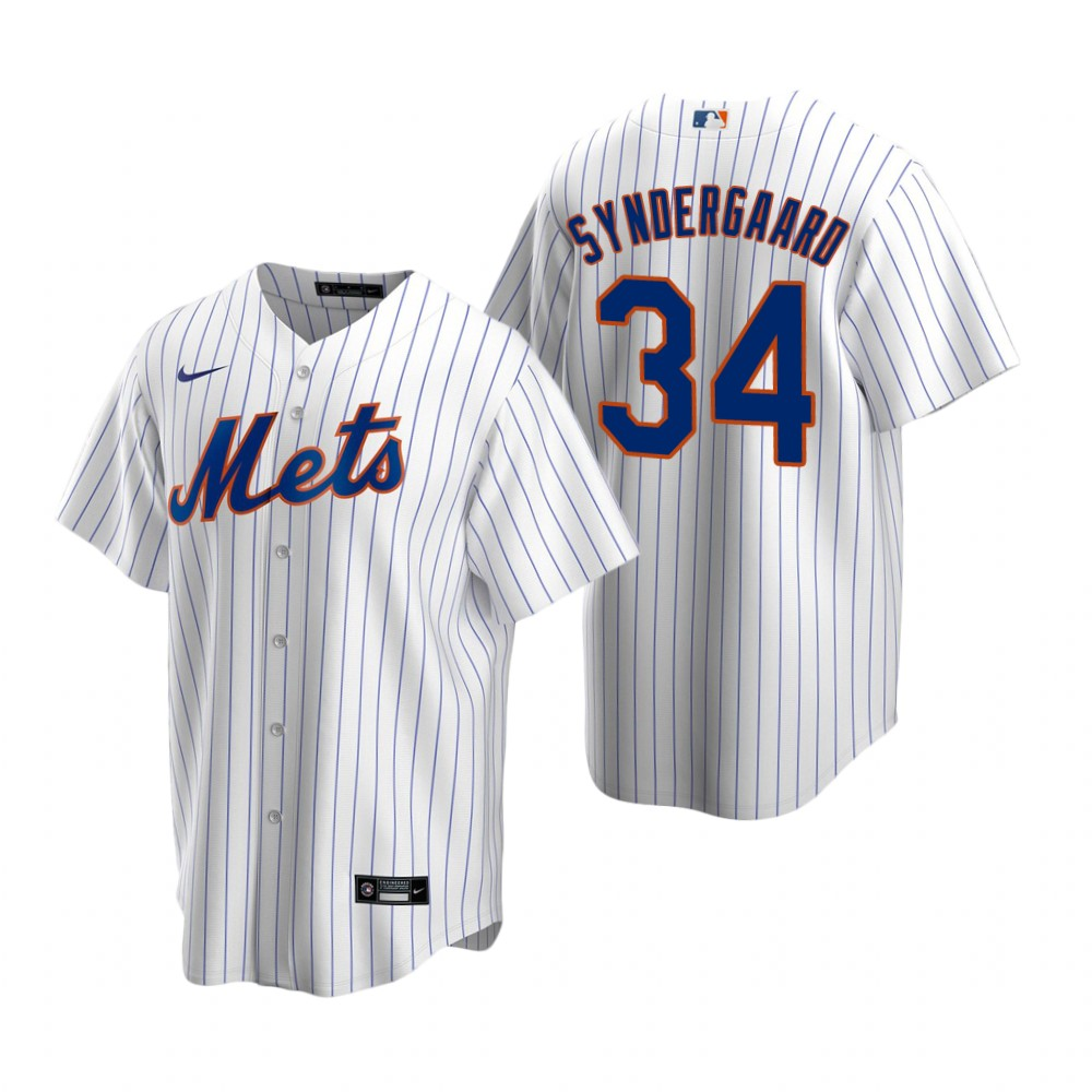 Men's Nike New York Mets #34 Noah Syndergaard White 2020 Home Stitched Baseball Jersey