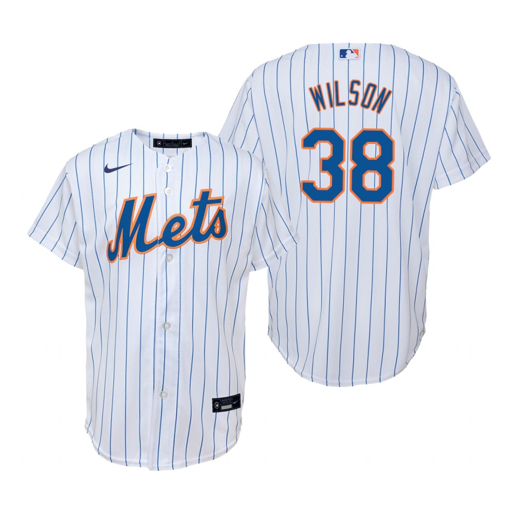 Men's Nike New York Mets #38 Justin Wilson White Home Stitched Baseball Jersey
