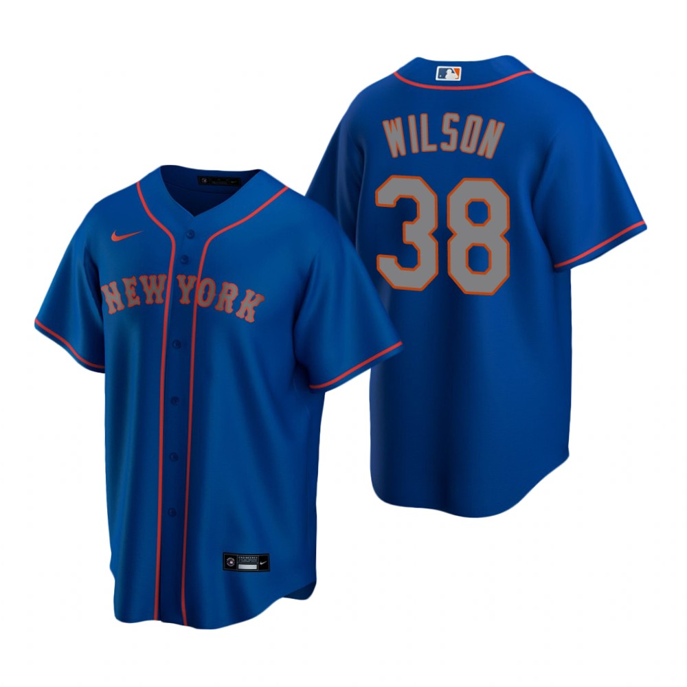 Men's Nike New York Mets #38 Justin Wilson Royal Alternate Road Stitched Baseball Jersey