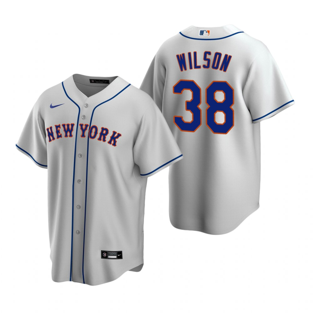 Men's Nike New York Mets #38 Justin Wilson Gray Road Stitched Baseball Jersey