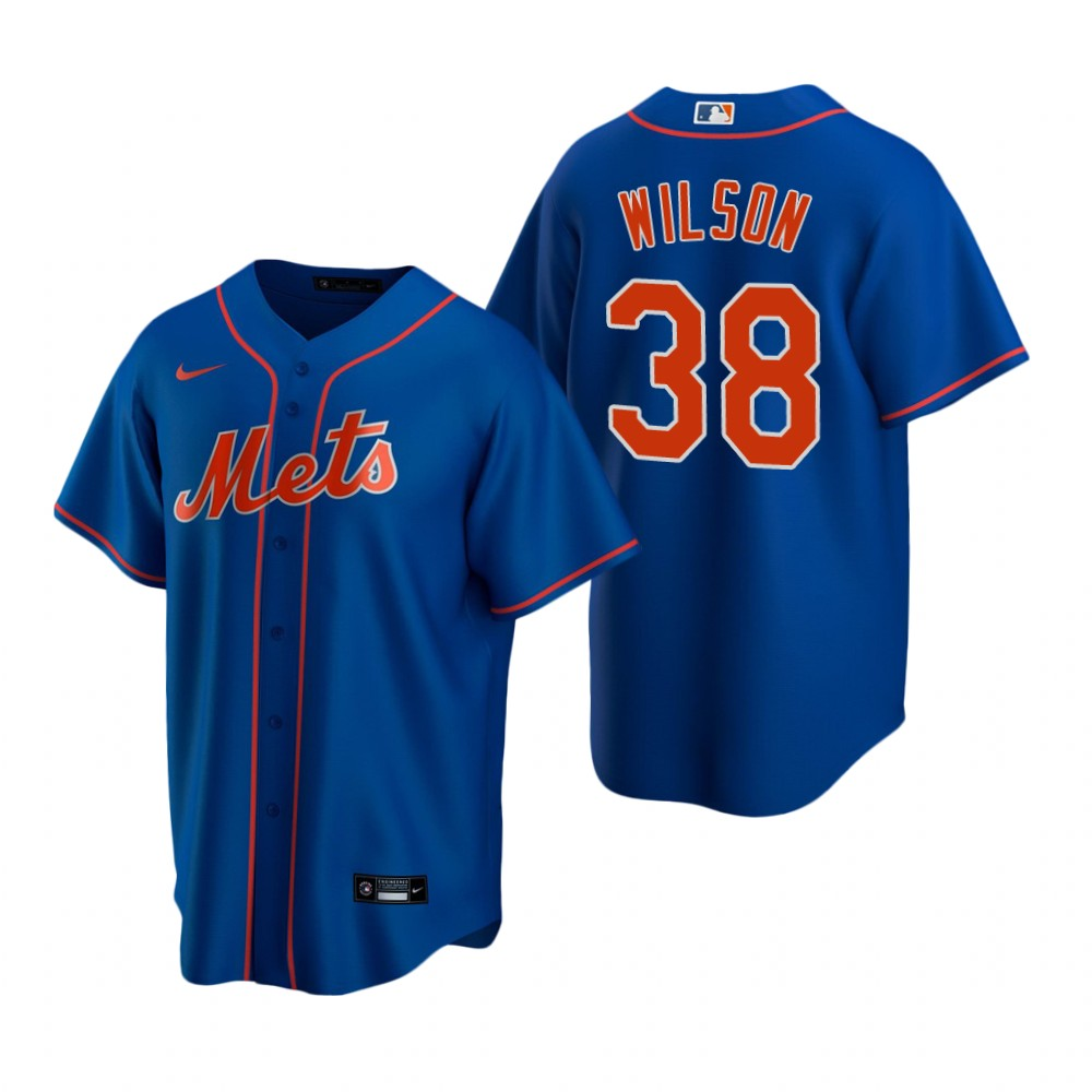Men's Nike New York Mets #38 Justin Wilson Royal Alternate Stitched Baseball Jersey