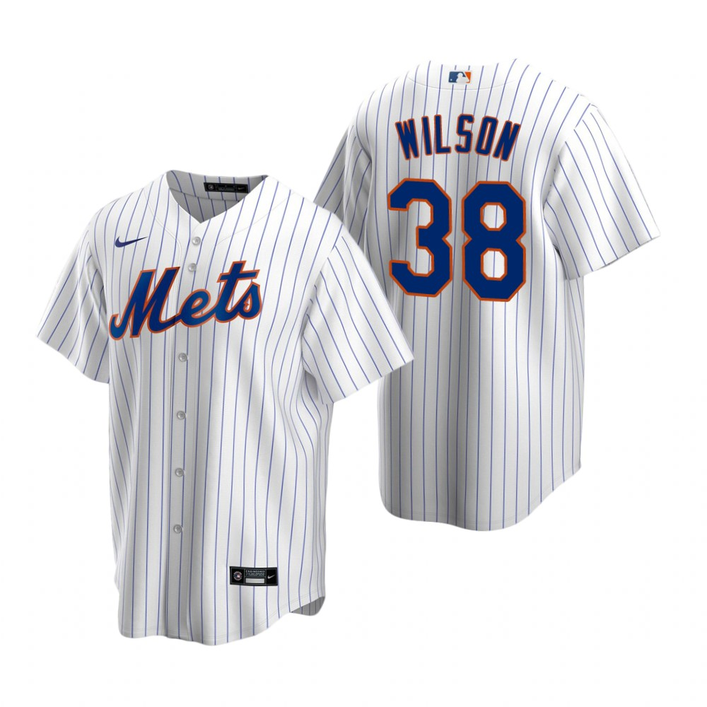 Men's Nike New York Mets #38 Justin Wilson White 2020 Home Stitched Baseball Jersey
