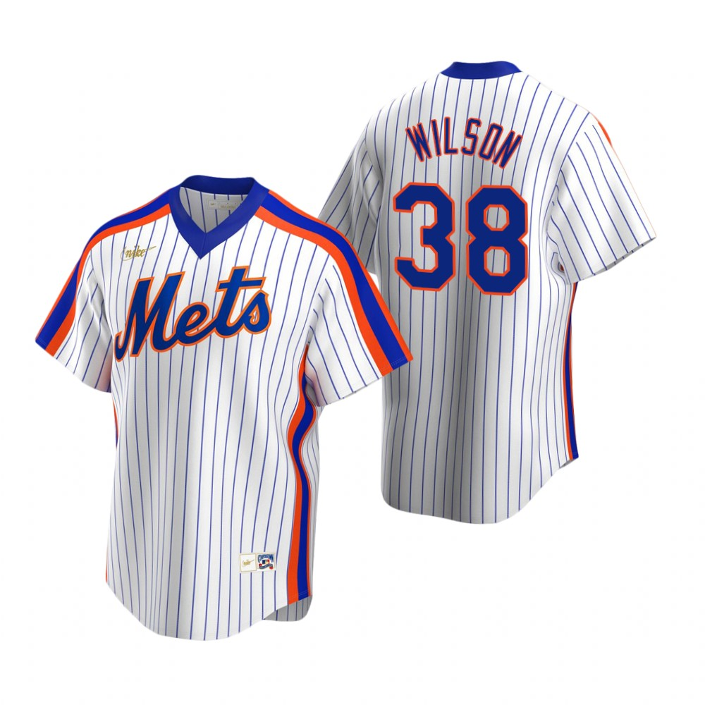 Men's Nike New York Mets #38 Justin Wilson White Cooperstown Collection Home Stitched Baseball Jersey