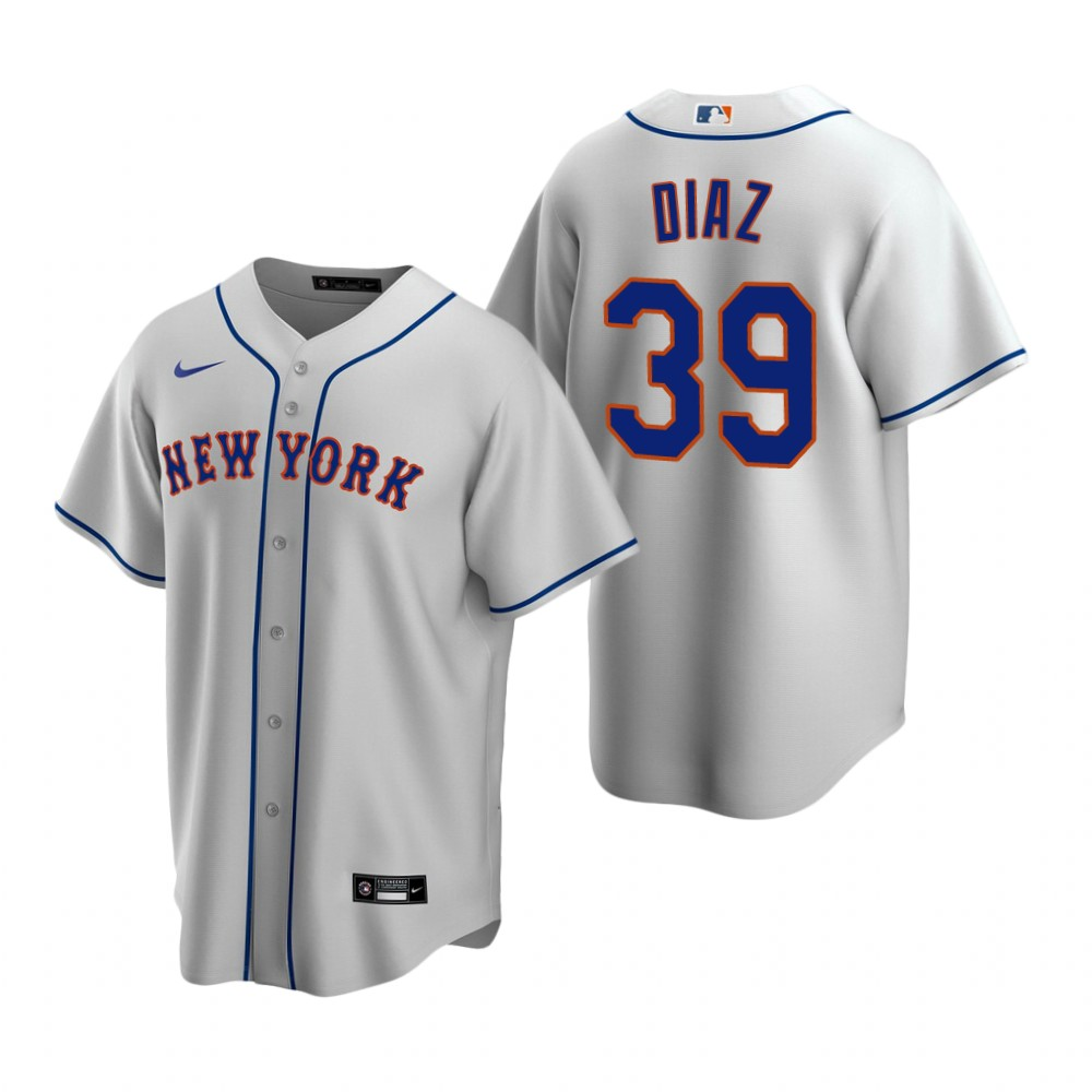 Men's Nike New York Mets #39 Edwin Diaz Gray Road Stitched Baseball Jersey