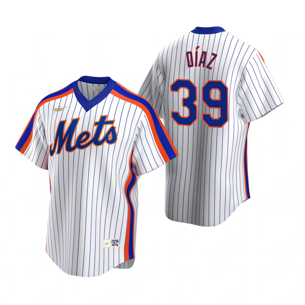Men's Nike New York Mets #39 Edwin Diaz White Cooperstown Collection Home Stitched Baseball Jersey