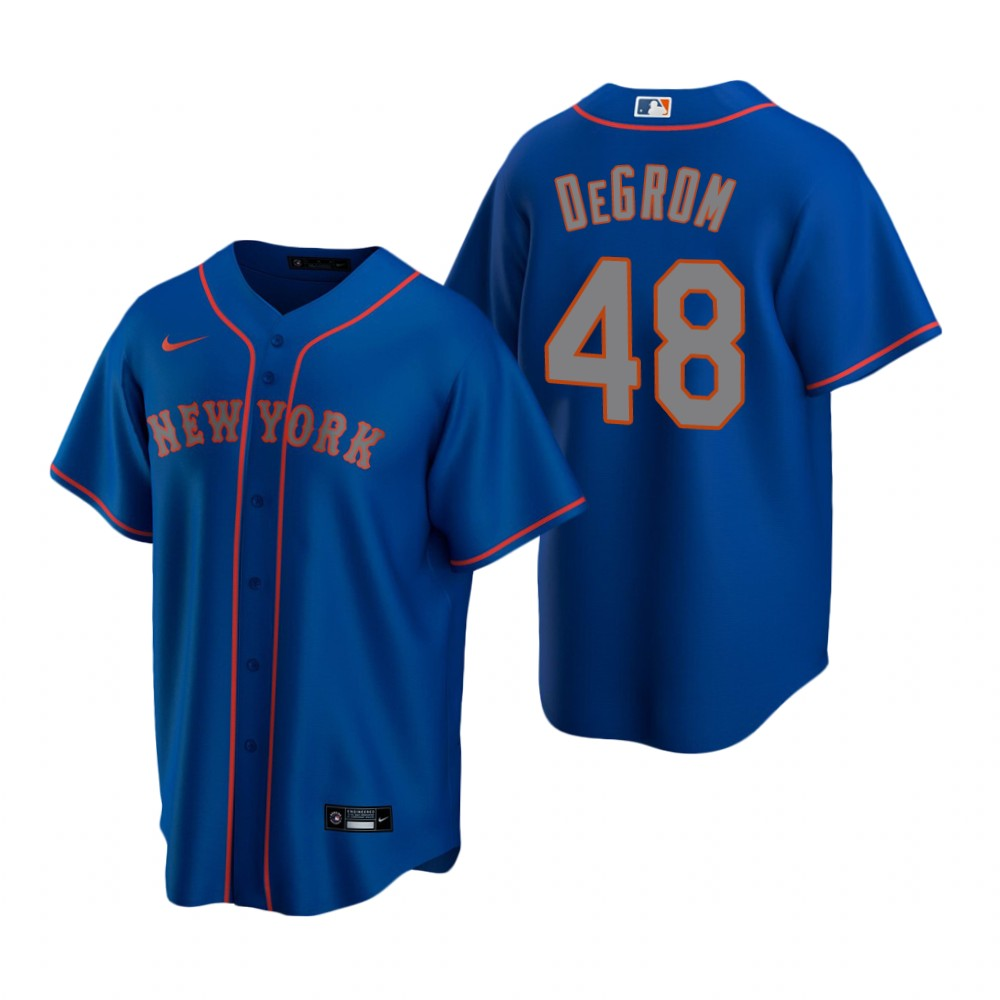 Men's Nike New York Mets #48 Jacob deGrom Royal Alternate Road Stitched Baseball Jersey