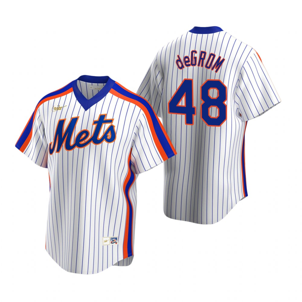 Men's Nike New York Mets #48 Jacob deGrom White Cooperstown Collection Home Stitched Baseball Jersey