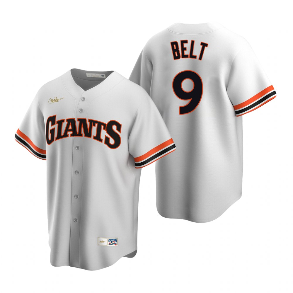 Men's Nike San Francisco Giants #9 Brandon Belt White Cooperstown Collection Home Stitched Baseball Jersey