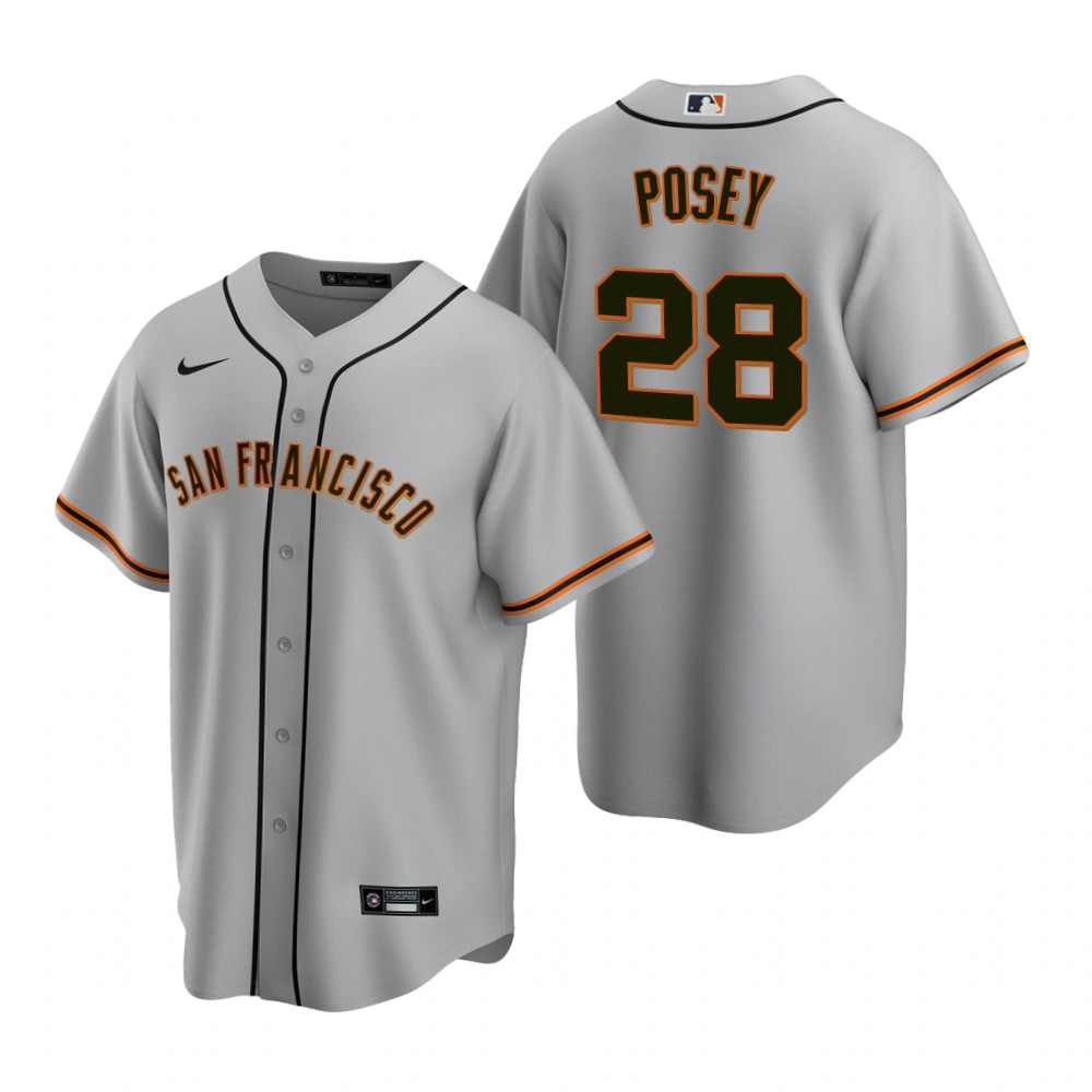 Men's Nike San Francisco Giants #28 Buster Posey Gray Road Stitched Baseball Jersey