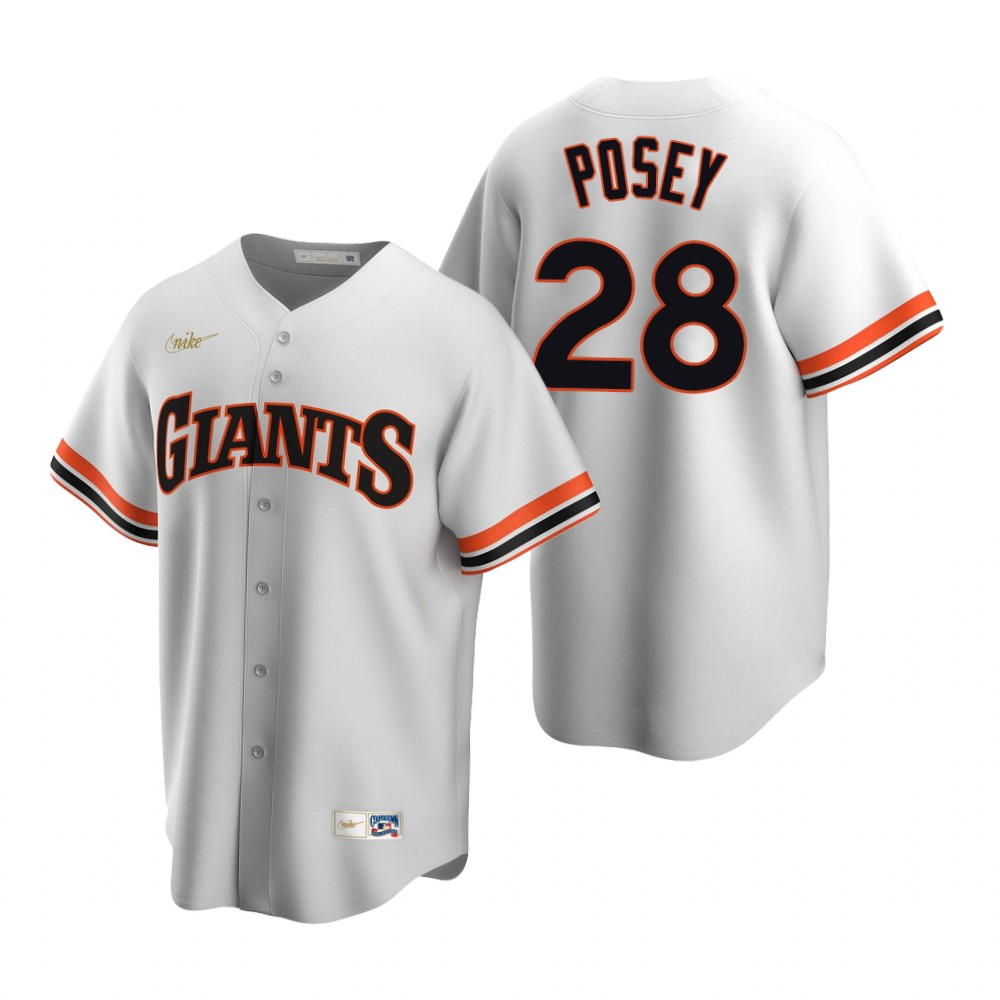 Men's Nike San Francisco Giants #28 Buster Posey White Cooperstown Collection Home Stitched Baseball Jersey