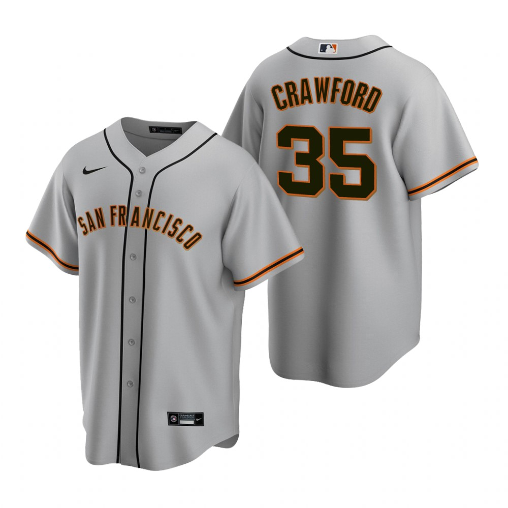Men's Nike San Francisco Giants #35 Brandon Crawford Gray Road Stitched Baseball Jersey