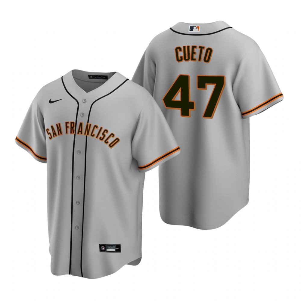 Men's Nike San Francisco Giants #47 Johnny Cueto Gray Road Stitched Baseball Jersey