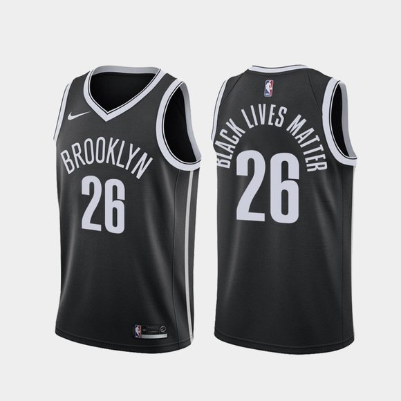 Brooklyn Nets #26 Spencer Dinwiddie BLM 2020 Jersey Black