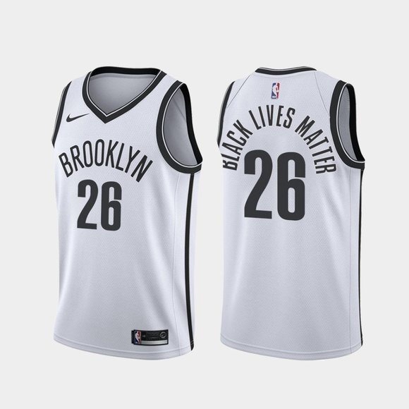 Brooklyn Nets #26 Spencer Dinwiddie BLM 2020 Jersey White