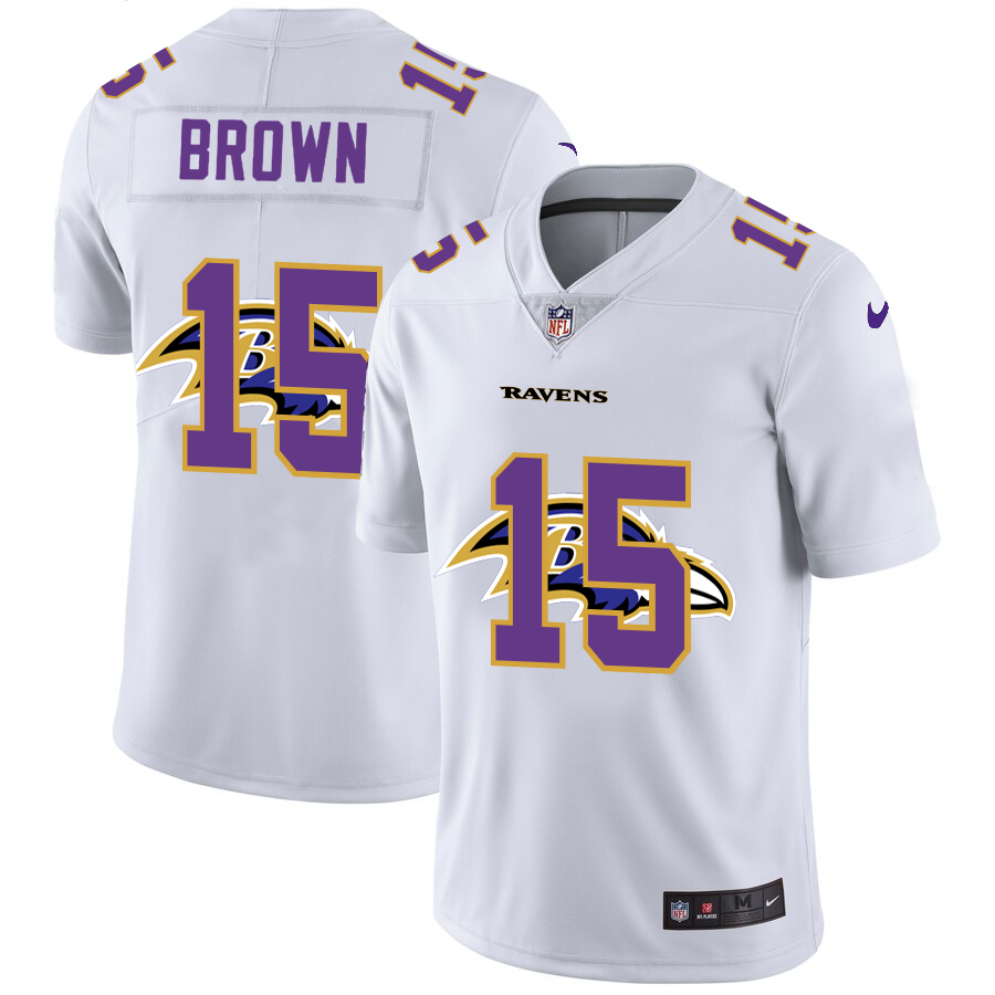 Men's Baltimore Ravens #15 Marquise Brown White Team Logo Dual Overlap Limited Jersey