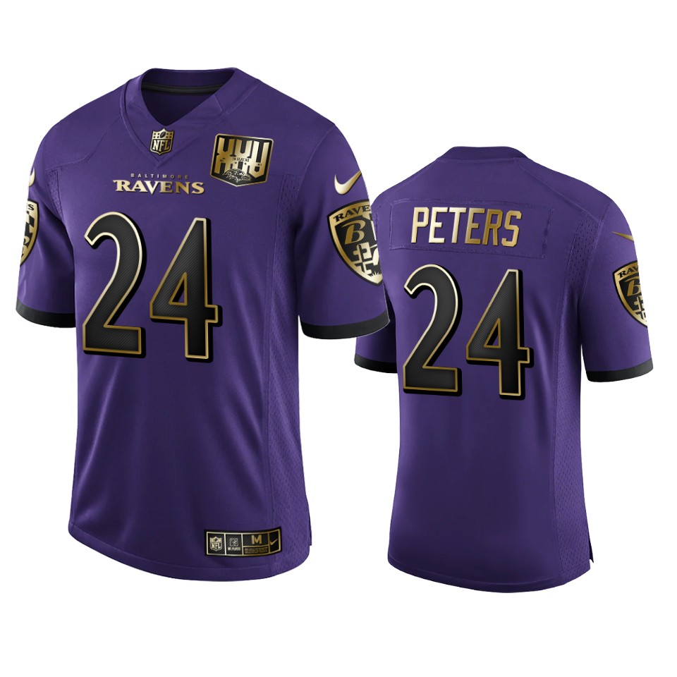 Men's Baltimore Ravens #24 Marcus Peters Purple Team 25th Season Golden Limited Jersey