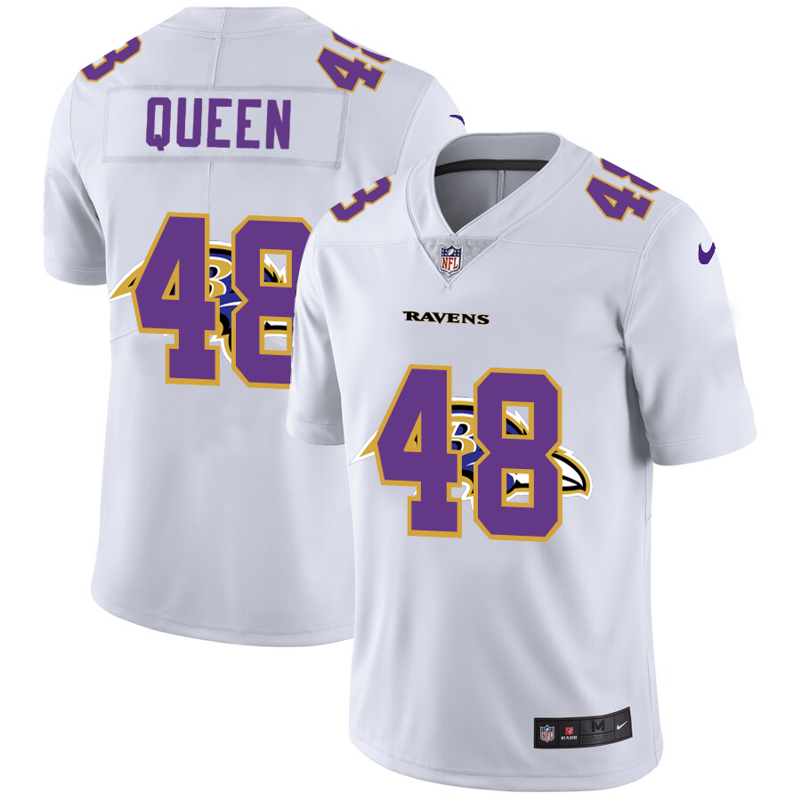 Men's Baltimore Ravens #48 Patrick Queen White Team Logo Dual Overlap Limited Jersey