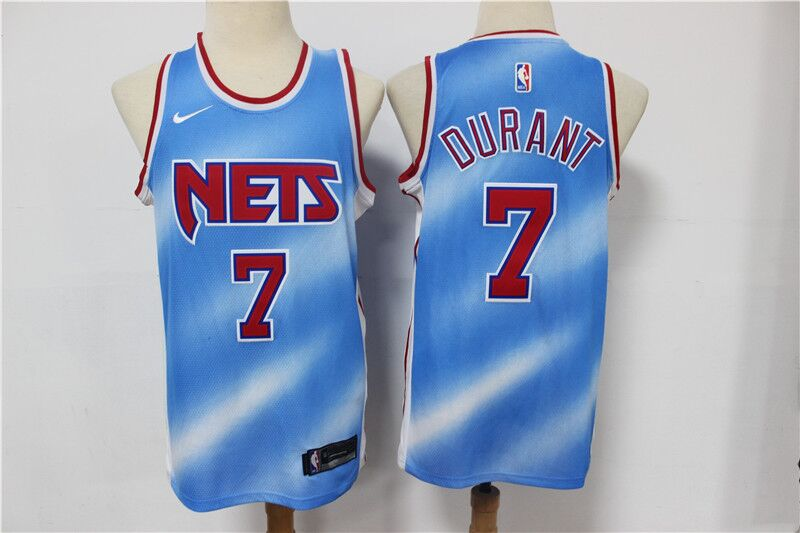 Men's Brooklyn Nets White #7 Kevin Durant 2020 21 Blue Basketball Jersey